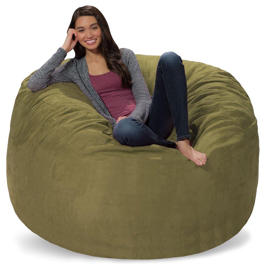 Comfy Sacks 5 ft Memory Foam Bean Bag Chair, Sage Micro Suede