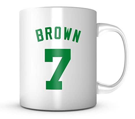 buy popular 8f0ef 4b9f1 Jaylen Brown #7 Mug - Jersey Number Green/White Coffee Cup ...