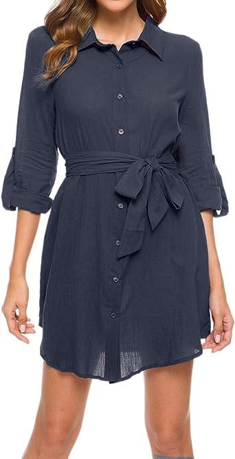 MINTLIMIT Vestido de tiempo libre para mujer, minivestido de camisa, vestido de manga larga 3/4, aspecto envolvente con cinturón
