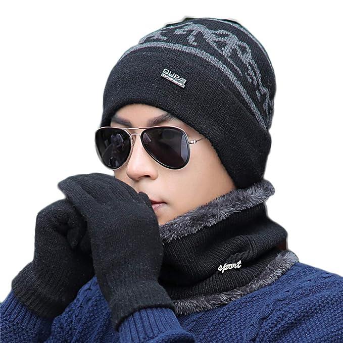 Sombrero De Punto Círculo Bufanda Conjuntos De Guantes Para Hombre Beanie  Hat Sombrero Cuello Calentador Bufandas Al Aire Libre Casual Ski Mitones  Conjuntos ... e3a077ae8e9