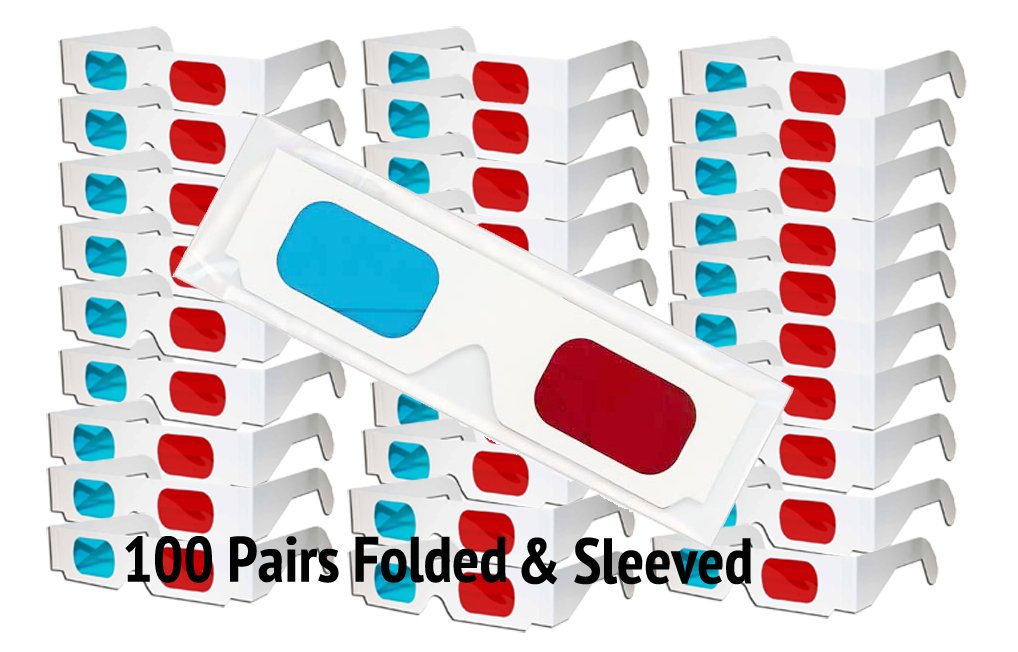 3D Red/Cyan Pro-Ana (TM) Anaglyph Cardboard Glasses - 100 Pair FOLDED - White Frame - High Quality