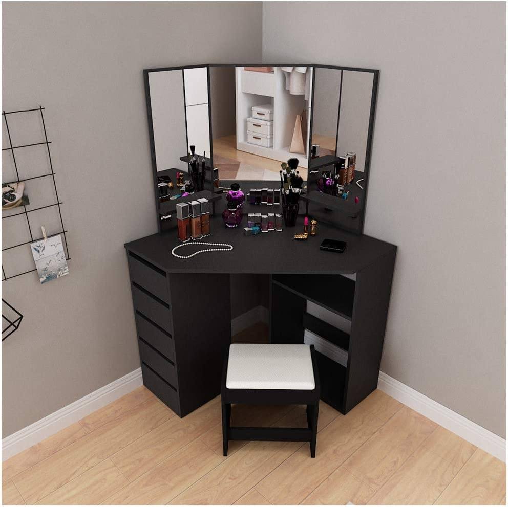 Fine Corner Design Dressing Table Vanity Mirror Set Modern Bedroom Storage Cabinet Makeup Table With Drawer Bathroom Vanity For Corner Small Space Ship From U S Black