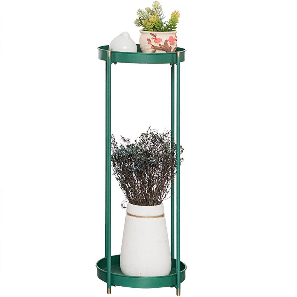 Estante de flores de madera ---- Estilo Europeo Verde Esmeralda / Verde Menta Hierro Dos Capas Soporte De Flores Balcón Sala De Estar Interior De Pie ...