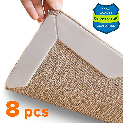 Non Slip Corners (Rug Grippers X-PROTECTOR – Best 8 pcs Anti Curling Rug Gripper. Keeps Your Rug in Place & Makes Corners Flat. Premium Carpet Gripper with Renewable Gripper Tape – Ideal Anti Slip Rug Pad for Your Rugs)