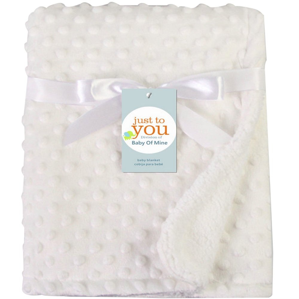 Ultra Soft Toddler Blanket Lightweight Breathable Baby Quilt/Bed Covers Suitable for For Kids 2 Layer Infant Blankets (White)