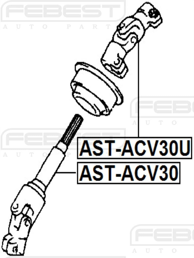 Steering Column Joint Assembly Febest Ast Acv30 Oem 45202 33080