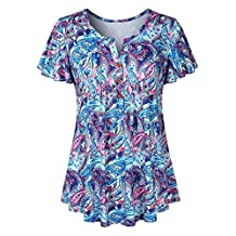 Paymenow Women's Short Sleeve V Neck Floral Printed Pleated Summer Loose Fit Flare Tunic Tops Blouse
