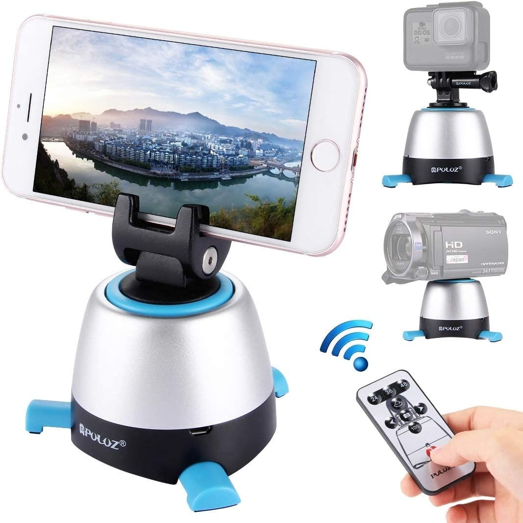 MEETBM ZIMO,Electronic 360 Degree Rotation Panoramic Head with Remote Controller for Smartphones Yellow DSLR Cameras GoPro Color : Blue