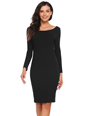 28bb588905 OD lover Sexy Women s Off Shoulder Long Sleeve Bodycon Pencil Midi Threaded Knit  Dress (