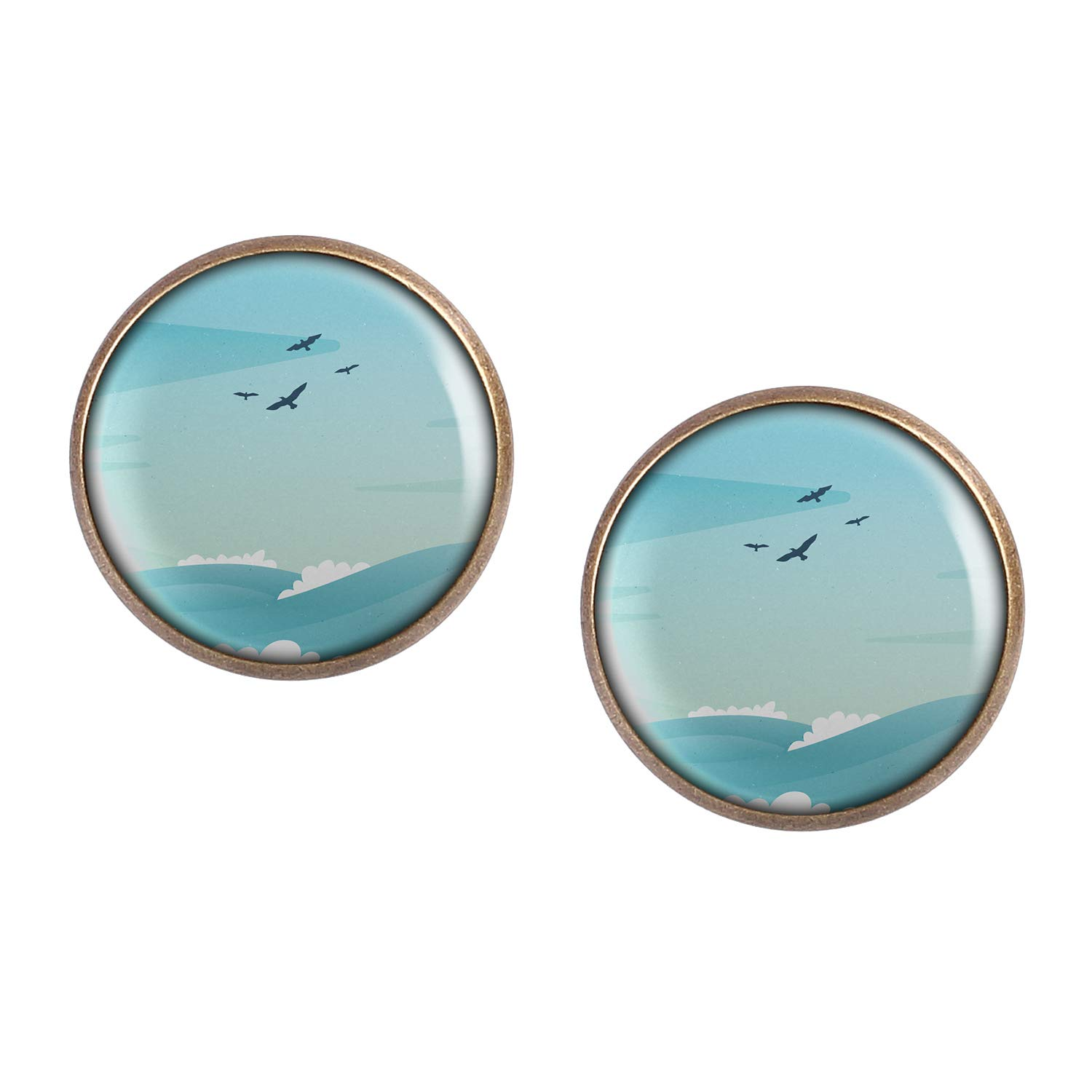 Stud Earring Pair with Cabochon Picture Gull Lake Sea waves bronze different sizes