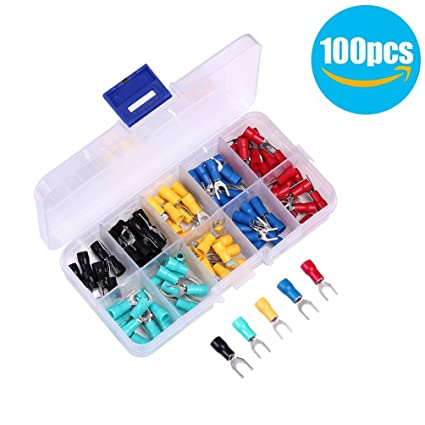 Amazon.com: WHDTS 100PCS Wire Connectors SV1.25-4 U-Type Insulated ...