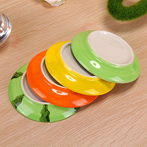 XDOBO 4Pcs Cute Fruit Pattern Ceramics Seasoning Dishes/Tea Bag Holders/Ketchup Saucer/Appetizer Plates/Vinegar Spice Salad Soy Sushi Wasabi Seasoning Dipping Bowls/Chili Oil by xdobo (Image #6)