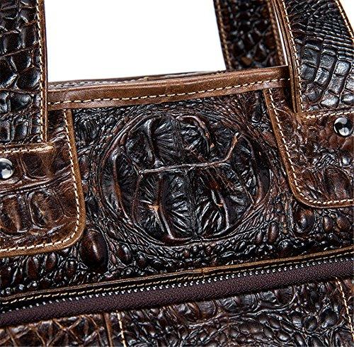 Xinmaoyuan bolsos de hombres de negocios informal Cuero auténtico Patrón de Cocodrilo Bolso Messenger de hombres,Café Café