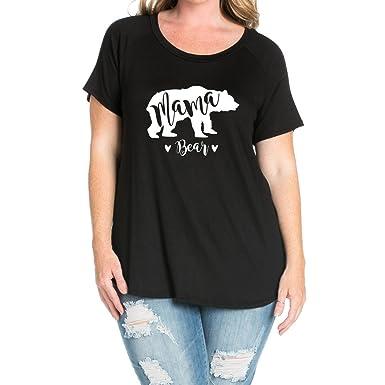 eb6627f6697 MaMa Bear Women Plus Size Round Neck Short Sleeves T-Shirts(NT6850-245) at  Amazon Women s Clothing store