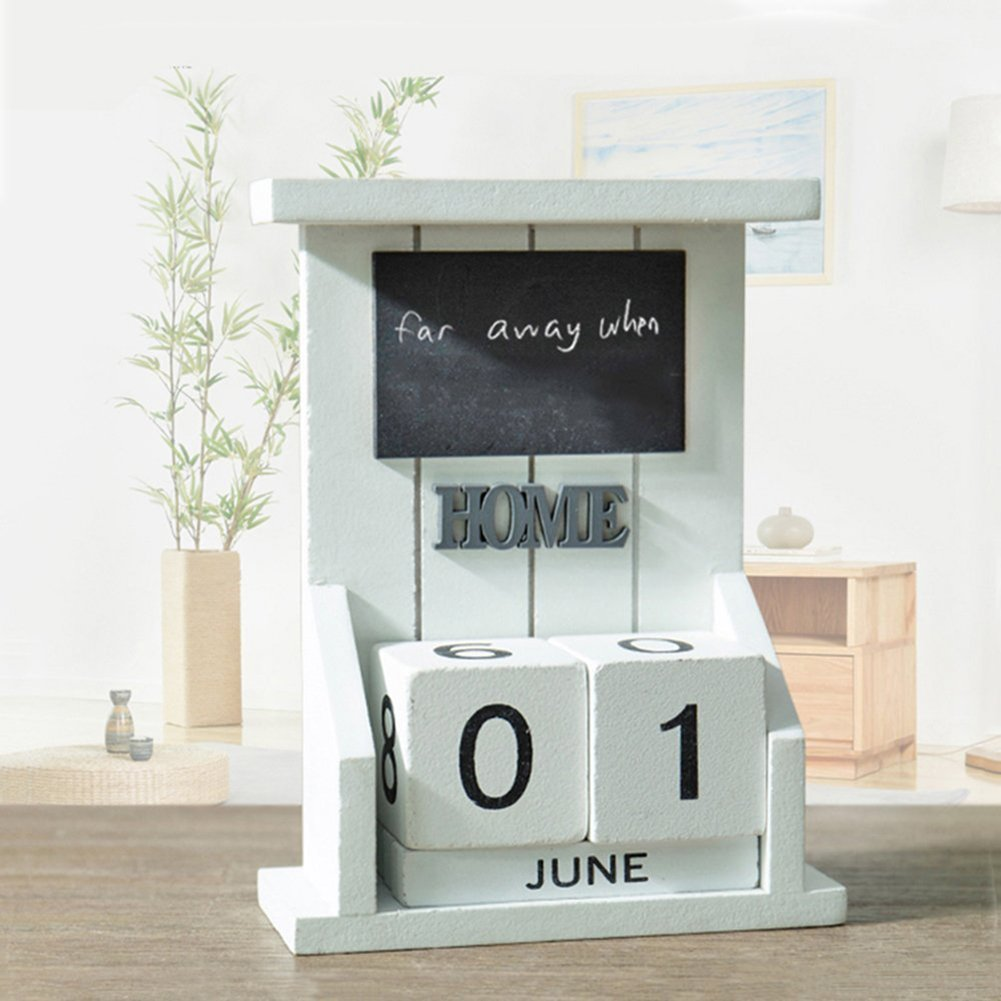 LANGUGU Shabby Chic Vintage Desktop Wood Cubes Perpetual Calendar Living Room Decoration Home Office Furnishing DIY Yearly Planner Calendar Shops Ornaments with Drawer (White)