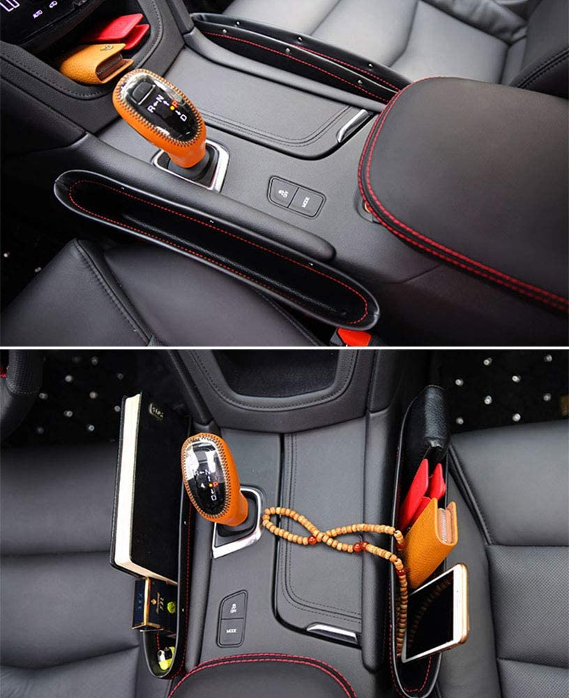 Coins,Wallet 2 Pack PU Leather Car Seat Pocket Organizer Car Seat Gap Filler Organizer Various Cards and Keys Universal Center Console Car Storage Box for Phone Sunglasses