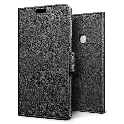 SLEO HTC Desire 10 Pro Case Luxury Slim PU Leather Flip Protective Magnetic Wallet Cover Case for HTC Desire 10 Pro with Card Slot and Stand Feature - Black