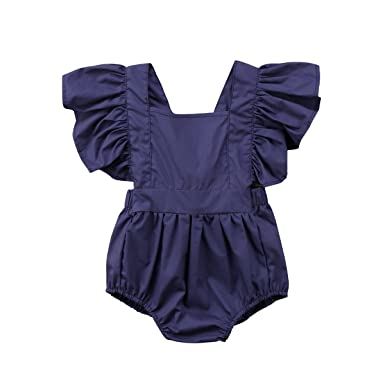 a129cbcdd4a yannzi Newborn Baby Boy Girl Romper Ruffle Sleeve One-Piece Bodysuit  Playsuit Clothes Sunsuit (