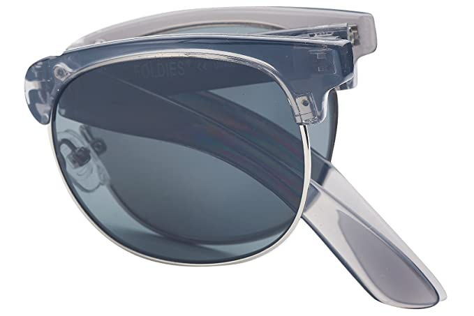 8f23b4a194 Foldies Clear Gray Folding Browline Sunglasses with Polarized Black Lenses