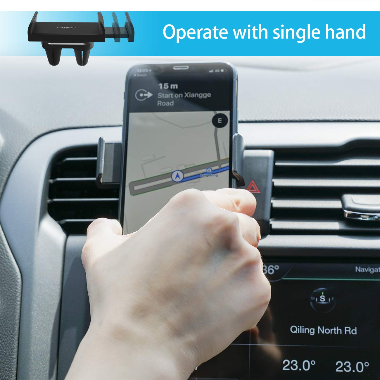 Car Phone Mount, Lamicall Car Vent Holder : Universal Stand Cradle Holder Compatible with Phone Xs Max XR 8 X 8P 7 7P 6S 6P 6, Samsung Galaxy S5 S6 S8 S9 S8+ S9+, Google, LG, Huawei, Other Smartphone by Lamicall (Image #2)