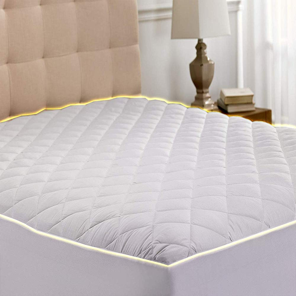 Cooling Mattress Topper Twin Xl Quilted Fitted Mattress Pad Hypoallergenic Down Alternative Fiberfill Stretch to Fit All Mattresses from 6 to 15 Deep a Fully Elasticized Deep Fitted Skirt Microfiber