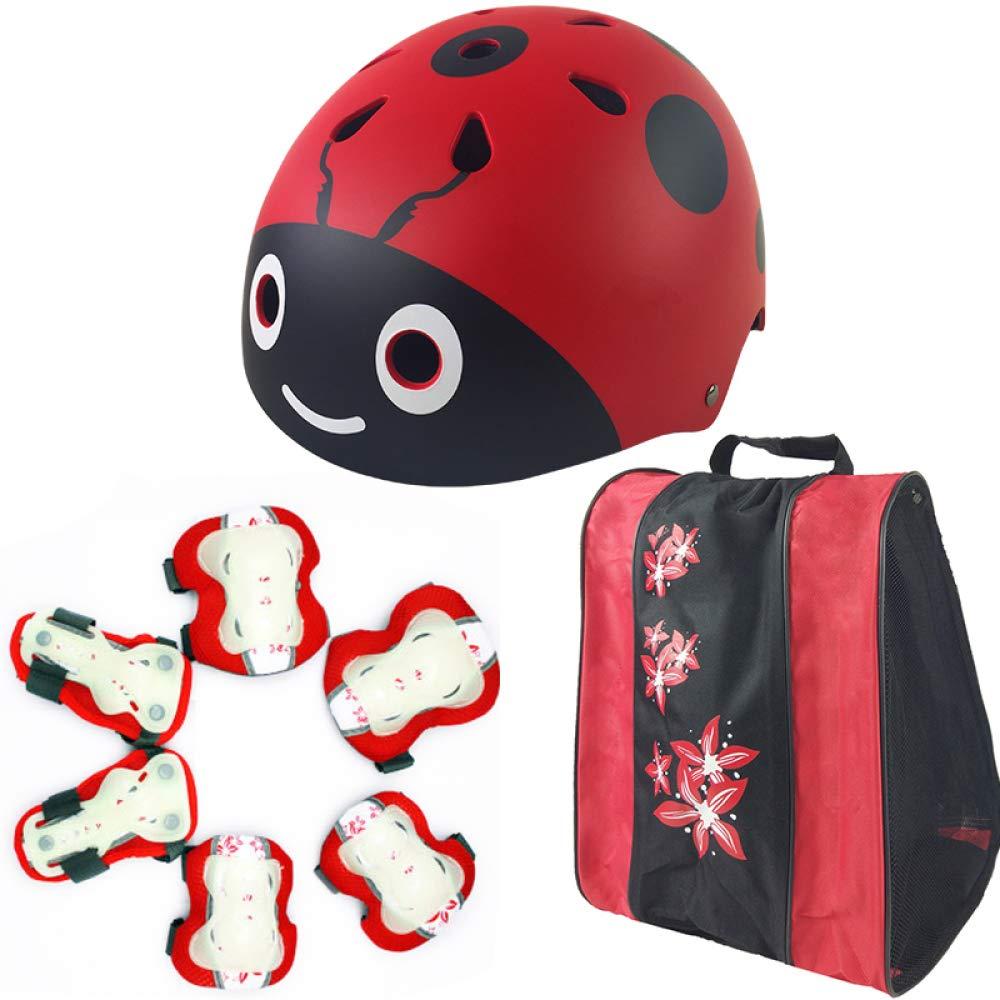 Box Czz Rollschuhlaufen Kinder Helm Schutzausrüstung, Fahrrad Sicherheit Hut, Voll Skateboard Roller Skates Knieschützer,C,Helm