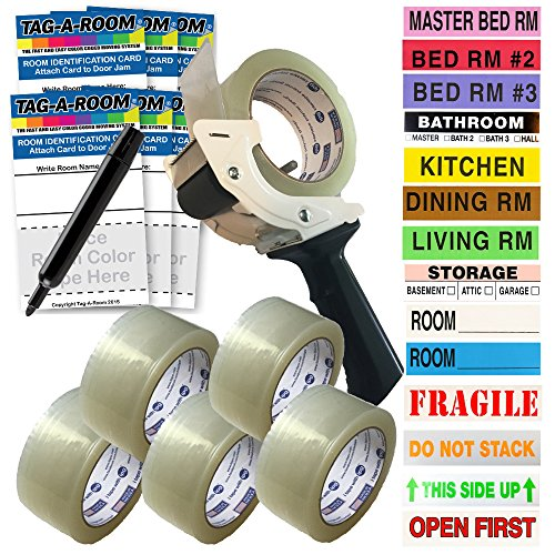Tag-A-Room Pack N Move Bundle, Moving Labels (525 Count), Moving Tape (6 Rolls), Tape-Gun, Door ID's, and Marker, Moving Supplies