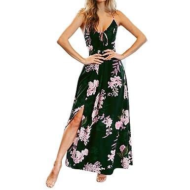 Longra Sommerkleider Damen V Ausschnitt Blumenkleid Spaghetti Lang Kleid  Maxikleid Frauen Ärmellos Rückenfrei Kleid Elegant Vintage 67e395a50f