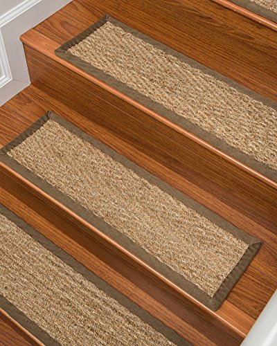 Sisal Peace Rug (NaturalAreaRugs Beach Seagrass Carpet Stair Treads, Handmade in USA By Artisan Rug Makers, Durable, Stain Resistant, Anti-Static, Environment/Earth-Friendly, Set Of 13 9'' x 29'')