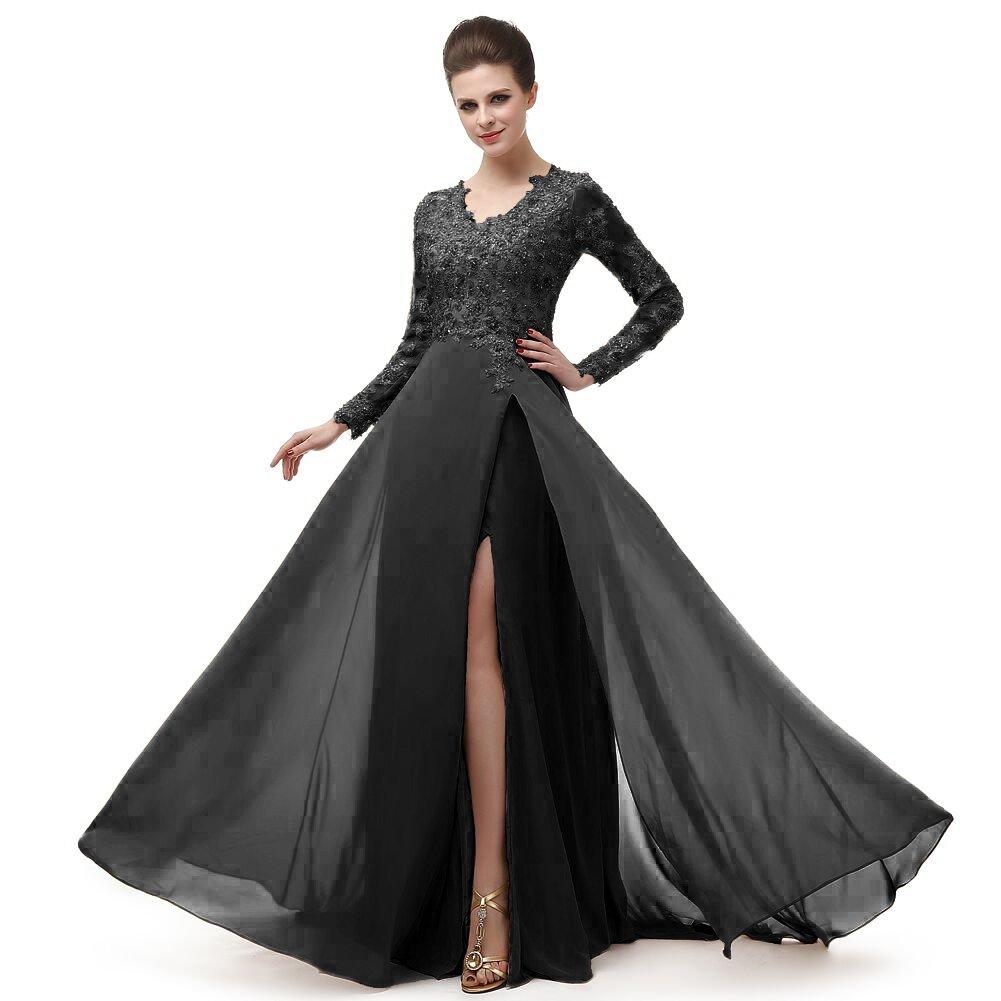Amazon.com  V Neck Prom Dresses Beading Chiffo Party Evening Elegant Sexy  High Split MNQ170406  Clothing 3843096246bb