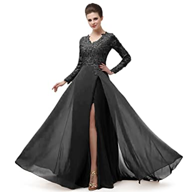 menoqo Beautiful Prom V Neckline Ruffled Skirt Long Sleeve High Waistline Cocktail  Dress MNQ170406-Black d63990a8ec18