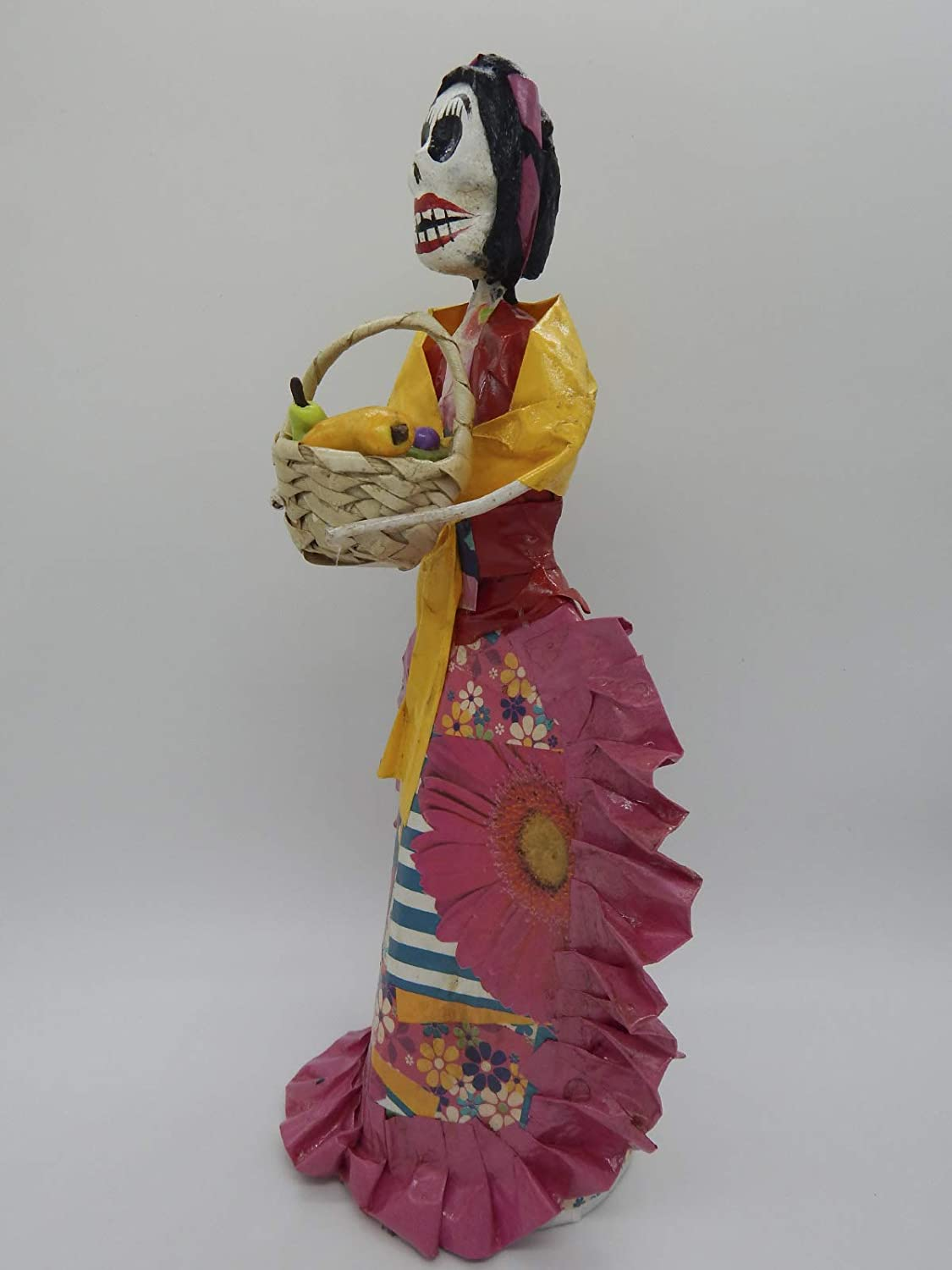 COLOR Y TRADICI/ÓN Mexican Catrina Doll Day of Dead Skeleton Paper Mache Dia de Los Muertos Skull Folk Art Halloween Decoration Fruit Seller # 1529