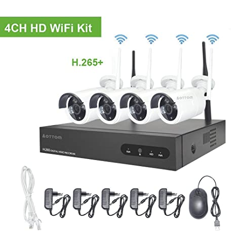 960P Kit Camaras Seguridad Vigilancia WiFi Aottom WiFi Kit Videovigilancia, Sistemas de Seguridad Inalambrico (4CH 1080P NVR+4 IP Cámaras), Visión ...
