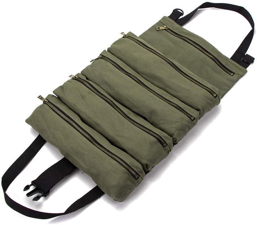 pochette de rangement pratique pour petits outils Vert militaire HGJ278-UK Rouleau doutils multifonction en toile cir/ée Grand seau organiseur doutils de rangement pour outils