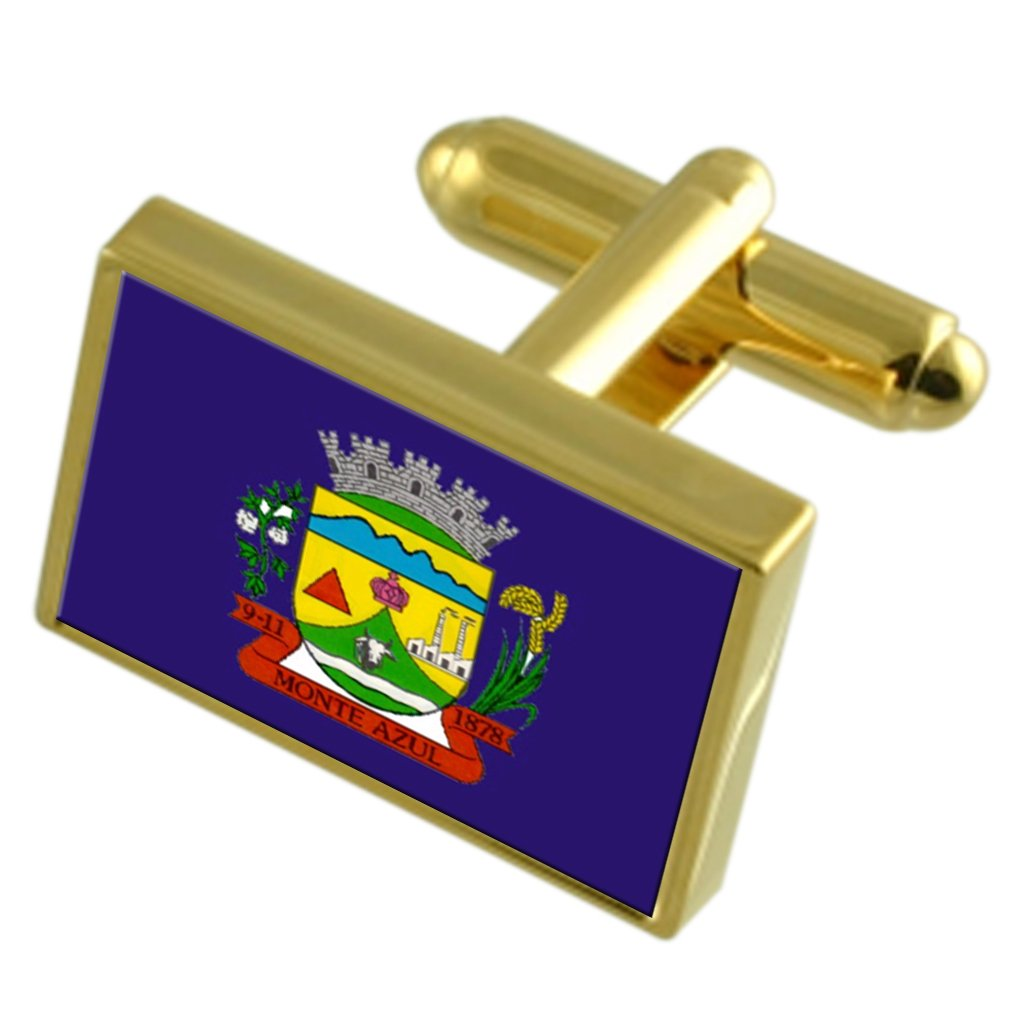 Monte Azul 市ミナスジェライス州金フラグ Cufflinks 刻まれたボックス   B071NBQPBJ