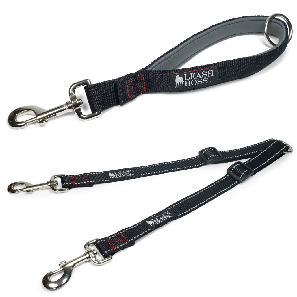 Leashboss Reflective Two Dog Leash Coupler and 12 Inch Short Leash with Padded Handle by Leash Boss