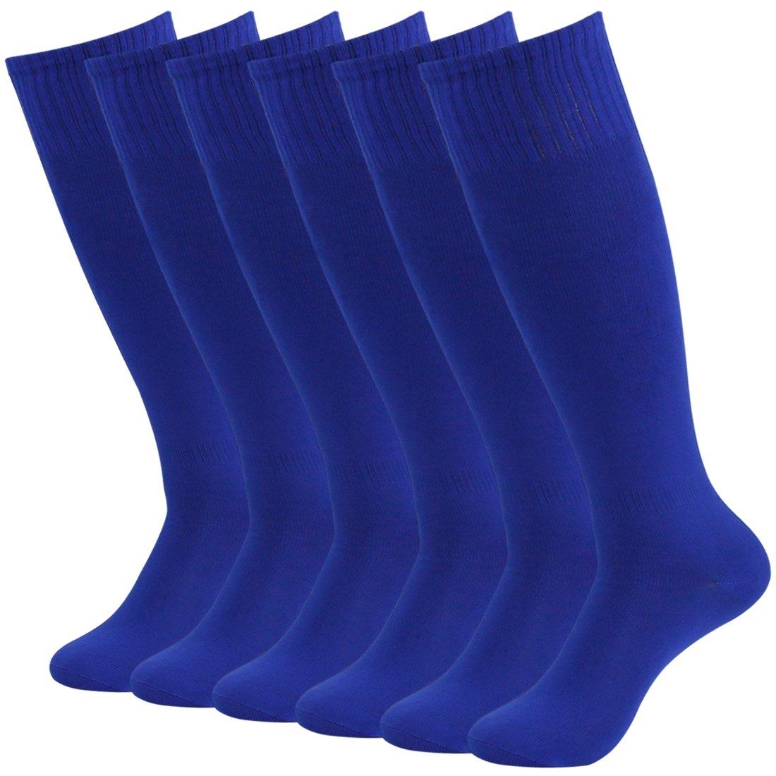 Fasoar Women Men Youth Girls 6-Pairs Referee Knee High Socks  Blue Solid Pattern Rugby Socks  6 pack blue  One Size by Fasoar