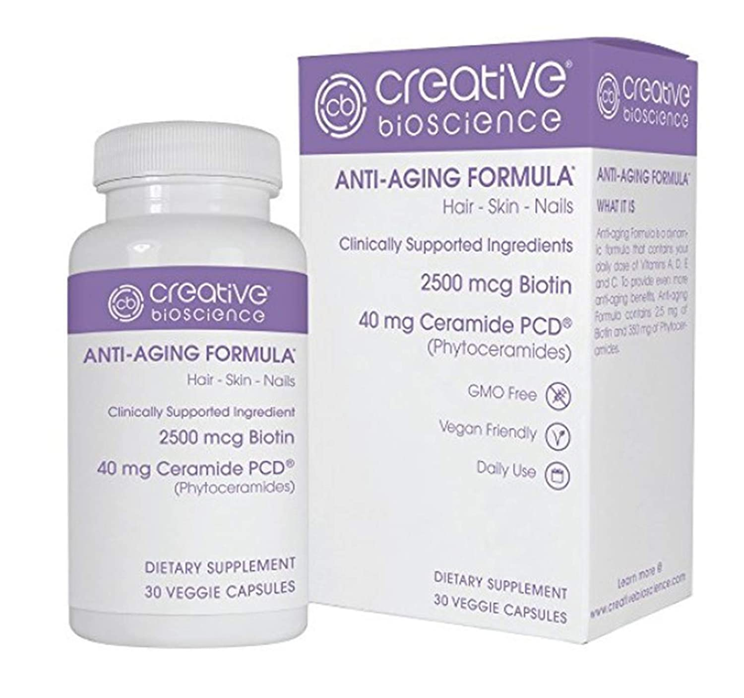 Anti-Aging Formula - Hair, Skin & Nails - Clinically Supported Ingredients (2500mcg Biotin, 40mg Ceramide PCD), GMO-Free, Vegan Friendly, Daily Use - 30 Veggie Capsules, Creative Bioscience, USA Made