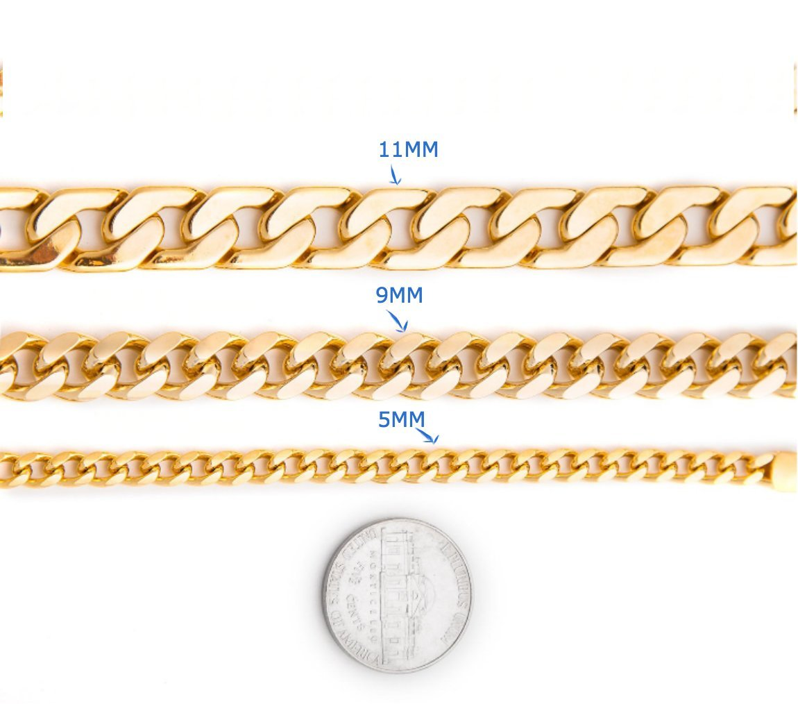 Gold chain necklace 11MM 14K Diamond cut Smooth Cuban Link with a Warranty Of A LifeTime USA Made! (30) by Unknown (Image #4)