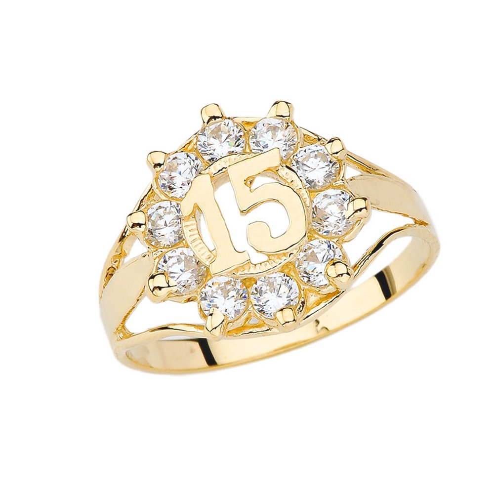 Elegant 10k Yellow Gold CZ Quinceanera Ring (Size 5)