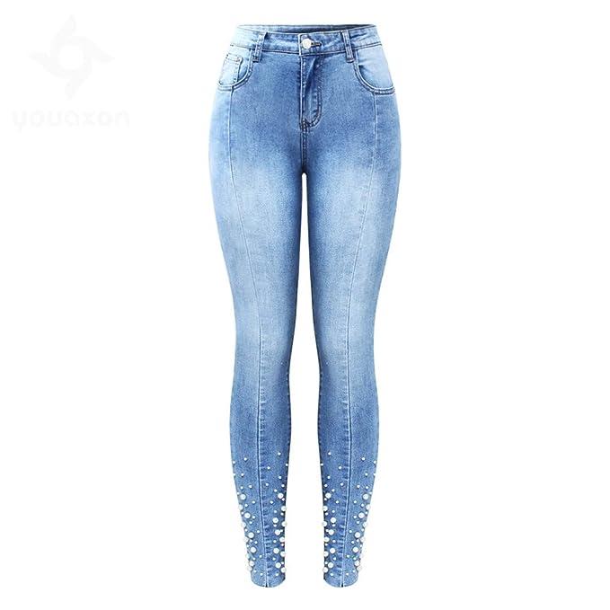 Z-BAIBAO Perla con Tachuelas Jeans Women s Mediados de ...