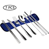 7 Pieces Flatware Cutlery Set, Reusable Stainless Steel Utensils With Storage Bag, Knife Fork Spoon Chopsticks Straws Cleaning Brush Set Travel Camping Cutlery Set, Dishwasher Safe