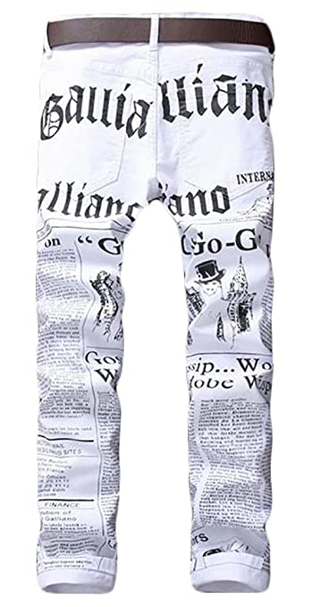 f8eddc3f3a855 ONTBYB Men s Newspaper Design Jeans Casual Pants Skinny Denim Trousers at  Amazon Men s Clothing store