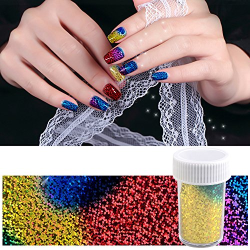 Lookathot 1 Box Nail Art Stickers Decals Mixed color Star Aurora Mirror Design Glass Piece Broken Foil Paper Printing Nail DIY Decoration Tools Christmas Halloween (Colorful)]()