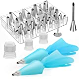 Kootek 54 in 1 Cake Decorating Supplies, 35 Piping Tips, 13 Large Icing Sets, 2 Reusable Silicone Pastry Bags, 3 Couplers and 1 Flower Nail Decoration Kits Baking Accessories Tools for Cake, Cupcake