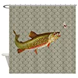 Fly Fishing Shower Curtain ghknjjkg Vintage Rainbow Trout Fly Fishing - Decorative Fabric Shower Curtain (60