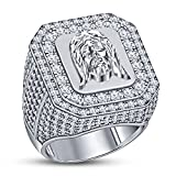 TVS-JEWELS 925 Sterling Silver White Platinum Plated Jesus Head Men's Wedding Engagement Ring (10.5)