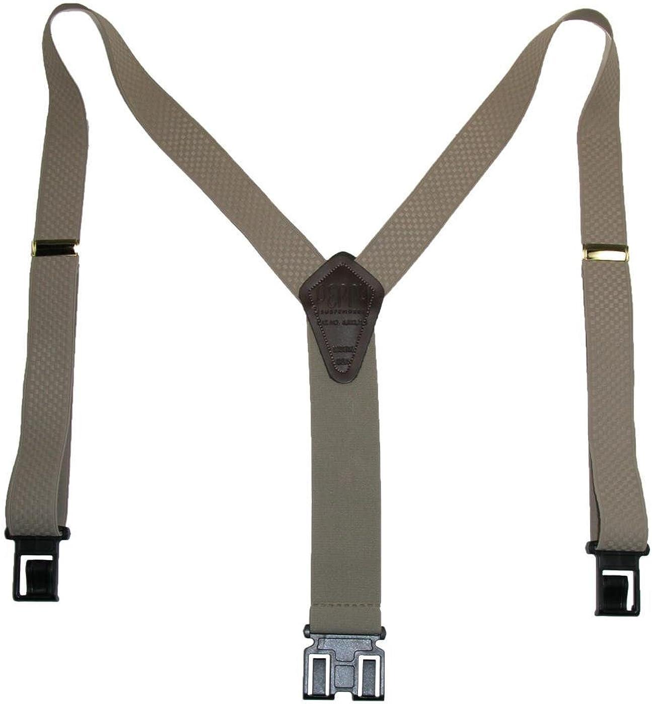 New Perry Suspenders Men/'s Leather Dress Hook End Suspenders