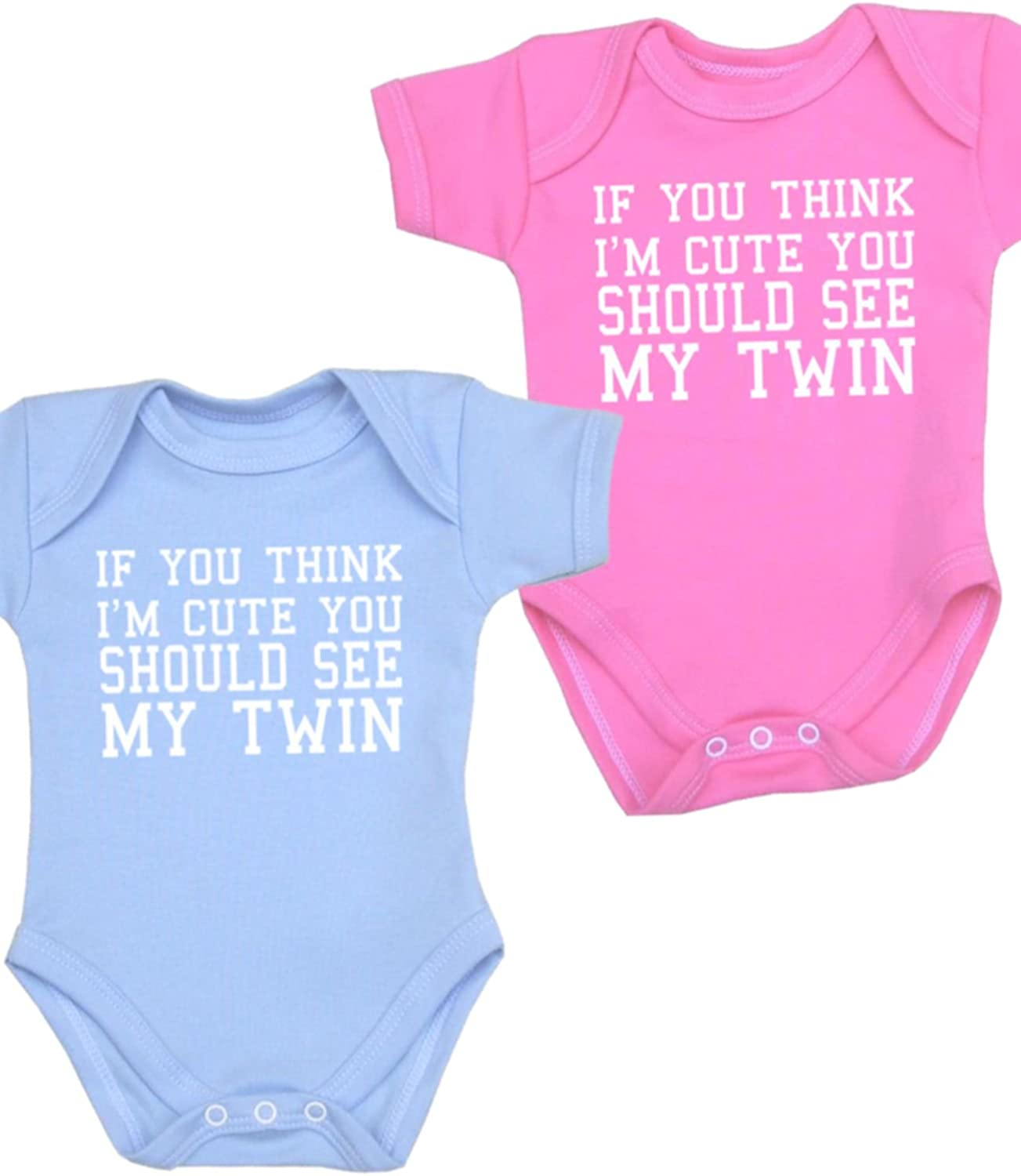 """/""""If you think I/'m cute you should see my twin/"""" Gift Twins Baby bodysuits"""
