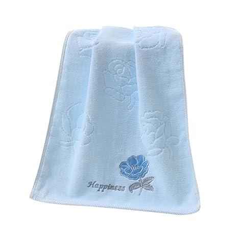 allbesta Toalla Algodón bordado Rose suave para baño mano facial azul